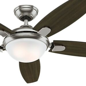 Hunter 54 inch Contemporary Ceiling Fan, Brushed Nickel - LED Light kit & Remote