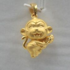 Authentic 24k Yellow Gold Pendant 3D Monkey Peanut Women Pendant 2.8-3.0g  Hot
