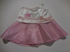 Build A Bear Girls Pretty Pink & White Dress Pink Skirt with White Satin Top