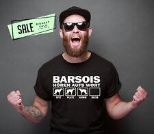 SALE Barsoi Hört WortHund Hundemotiv Hundeshirt Unisex T-Shirt L