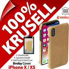 Krusell GENUINE SUEDE LEATHER Broby Hard Case Cover for Apple iPhone X / XS