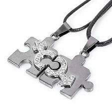 Valentine's day gift Titanium stainless steel Jigsaw Love Heart Couple Necklace