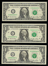 Near Solid Serial Number, 2006 Gem Unc. Set,  55555597 FRN's 3-$1's and $20,