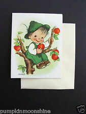 D848- Vintage Ars Sacra 1947 Eva Harta Greeting Card Boy Sitting in Apple Tree