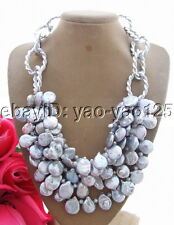 """Gray Coin Pearl Crystal Necklace 19"""""""
