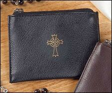Black Leather Rosary Case with Celtic Cross NEW SKU KS210