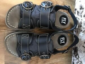 Womens Fly London Bridle BlackLeather Open Toe Cut Out Summer Sandals UK 3 EU 36