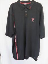 Nike Texas Tech Polo Shirt Short Sleeve Dri Fit Black XXL  #7561