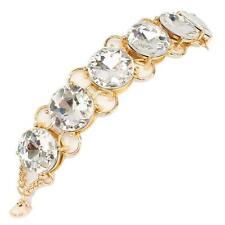 "7.50"" gold large .75"" rhinestone bracelet cuff bangle bridal prom pageant"