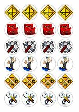 24  CAR MECHANIC / MECHANICS TOOLS  ICING EDIBLE FAIRY/CUP CAKE  TOPPERS