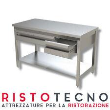 Tavolo inox con ripiano di fondo e cassettiera in linea  Dim.cm. 150x60x85H.
