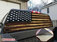 Distressed Red Lines USA FLAG Rear Window Tint Graphic Decal Wrap Back Truck P30