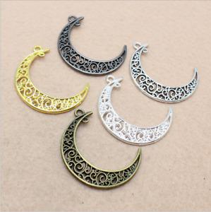 4/20pcs Vintage alloy pendant moon handmade accessory accessories 40X33mm