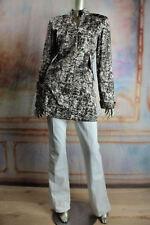 $3280 New OSCAR de la RENTA Brown Beige Art Print Mini Dress Coat 12
