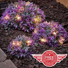 Set of 3 PURPLE Solar Light Half Ball Garden Ground Plants Yard Lawn Patio Decor