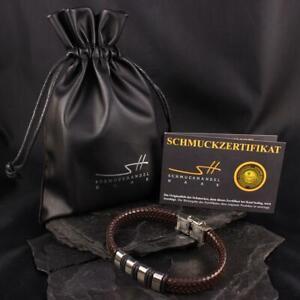 Men's Faux Leather Stainless Steel Bracelet,+ Jewellery Bags,Schmuckhandel Haak