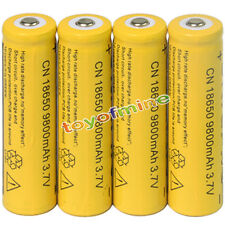 4x 3.7V 18650  9800mAh Li-ion Rechargeable Battery For Flashlight Torch
