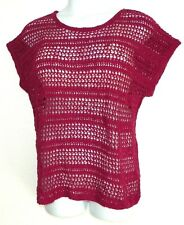 BoHo Chic Open Crochet Knit Sweater Dolman SS~NEW~3X 22/24W~Raspberry Mauve