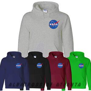 NASA SPACE ASTRONAUT- GEEK NERD STAR LOGO MEN LADIES PULLOVER JUMPER HOODY CHEST