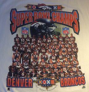 Denver Broncos Super Bowl XXXII VTG T Shirt White Team Photograph Starter L