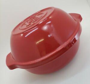 Emile Henry France Bread Pot Red Round Ceramic