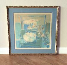 Pierre Lesieur Signed Abstract Lithograph in Blue, 1971 French Modernism Listed