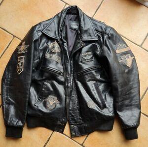 Vintage Mens AVIATRIX Aviator Black Leather Bomber Jacket Size Medium .