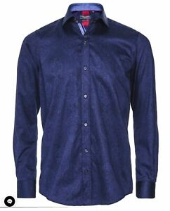 GUIDE LONDON Premium Men's Navy Print Shirt Size L Pure Cotton Long Sleeved