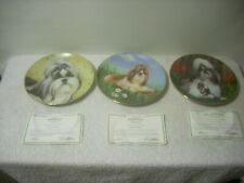 Collectors Plate Danbury Mint Shih Tzu 3 Plates Dog