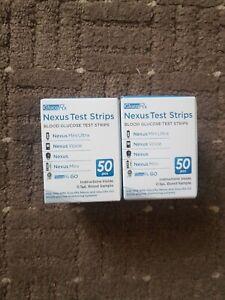 2x Glucorx Nexus blood glucose test Strips each box 50 strips 2022
