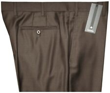 $325 NEW MINOR IMPERFECT ZANELLA ITALY DEVON SOLID DK BROWN SUPER 130'S PANTS 36