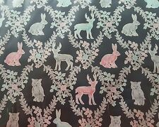 Woodland creatures black by Sevenberry 100% Cotton Fabric Sold by FQ+