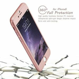 iPhone 6 6S Hard Ultrathin Case  Tempered Glass Cover  Hybrid 360° Rose Gold