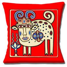 "UKRAINIAN ETHNIC TRIBAL FOLK ART ANIMAL RED BROWN SHADE 16"" Pillow Cushion Cover"