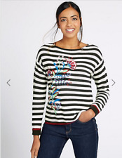 BNWT M&S Collection Navy Stripe Embroidered Cotton Jumper Size XL RRP £29.50