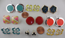 LOT OF 9 PAIRS SILVERTONE ENAMEL SOME WITH RHINESTONES EARRINGS L33