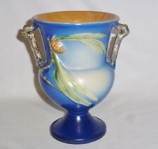 Roseville Pinecone Two Handled Blue Vase #908-8