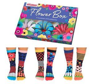 United Oddsocks FLOWER BOX 6 Odd Socks Gift Box-Ladies Size 4-8