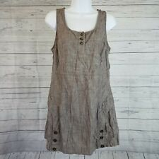Miss Etam Womens Sleeveless Dress Sz 42 Brown Crinkle