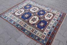 """Vintage Handmade Turkish Oushak Wool Red Blue Anatolia Area Rug 53""""x43"""""""