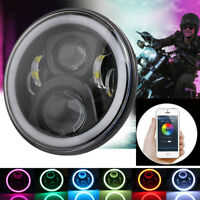 "7"" inch Round LED Headlight w/Bluetooth RGB Halo for 97-17 Jeep Wrangler JK"