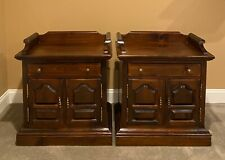 Ethan Allen Antiqued Pine Old Tavern Nightstand Cabinet End Tables FREE SHIPPING