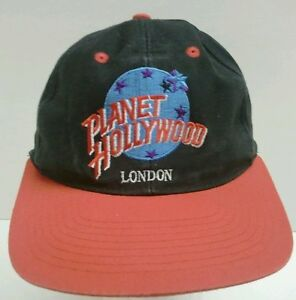 Planet Hollywood London Snapback Baseball Cap Hat Black with Red Brim