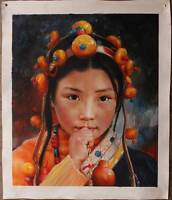 CHOP314 100% hand-painted chinese minority young girl art oil painting on canvas