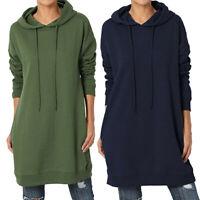Women Long Sleeve Hoodie Hooded Mini Dress Jumper Pullover Sweater Sweatshirt UK