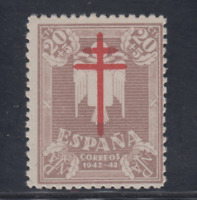 ESPAÑA (1942) NUEVO SIN FIJASELLOS MNH SPAIN -EDIFIL 958 (20 cts + 5 cts) LOTE 3
