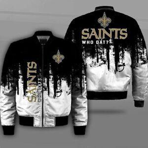 New Orleans Saints Pilot Bomber Jacket Wind Breaker Thick Warm Coat Team Outwear