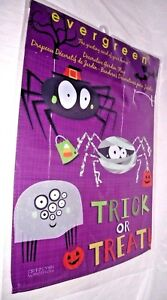 Garden Flag Halloween Spider Bugs Pumpkins Trick Treat Purple Whimsical Fall NEW