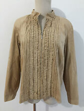 Coldwater Creek Petite Ruffled Zip Front Jacket Tan/Fawn Faux Suede Size PL