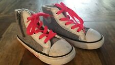 Converse All Star Chuck Taylor High Top Knit Sneaker Y US 9 EU 25 silver pink